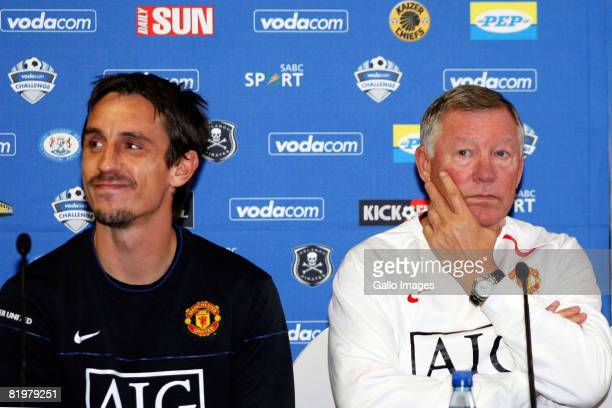 Gary Neville and Manager Sir Alex Ferguson attend a Manchester United press conference on July 18 2008 in Newlands Stadium in Cape Town South Africa