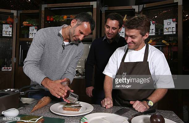 Gary Neville and Ryan Giggs take part in a cook off with the restaurant's executive chef Brendan Fyldes and creative director twostarred Michelin...