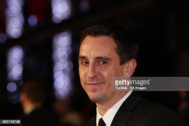 Gary Neville arriving for the World premiere of documentary film The Class of 92 detailing the rise to prominence and sporting superstardom of six...