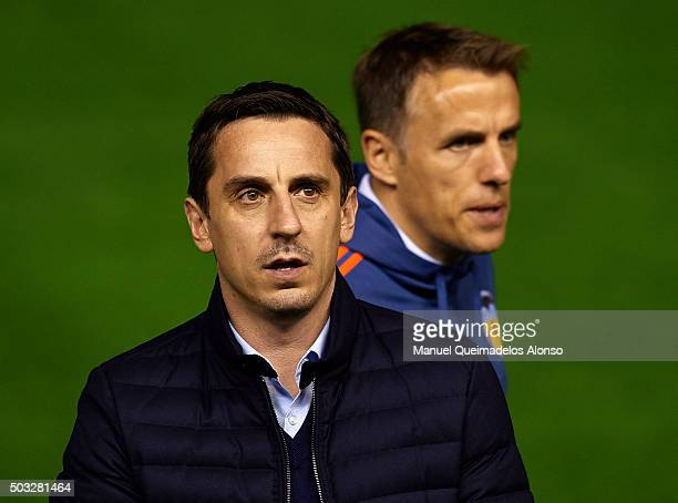 Gary Neville manager of Valencia CF and his assistan Phil Neville look on prior the La Liga match between Valencia CF and Real Madrid CF at Estadi de...