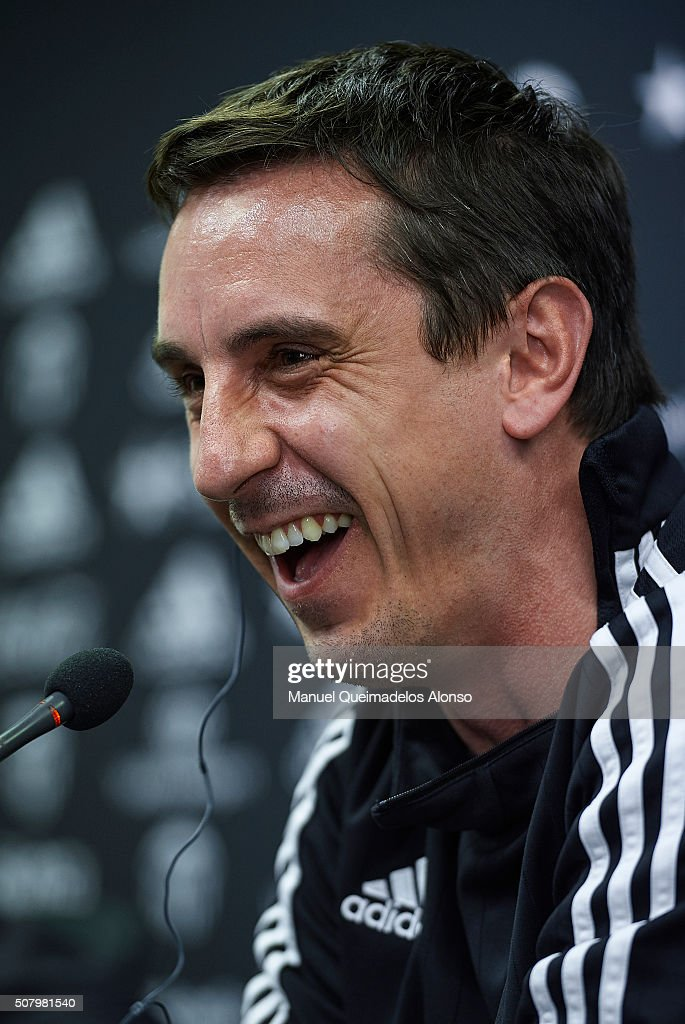 Gary Neville manager of Valencia CF faces the media during a press ...