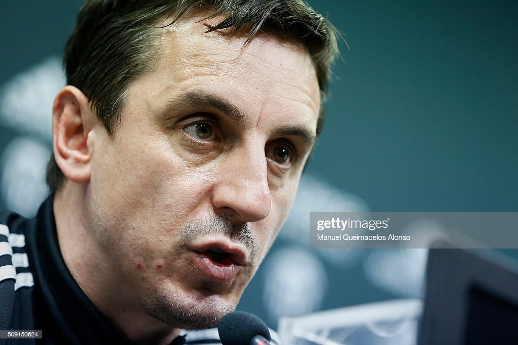 <a gi-track='captionPersonalityLinkClicked' href=/galleries/search?phrase=Gary+Neville&family=editorial&specificpeople=171409 ng-click='$event.stopPropagation()'>Gary Neville</a> manager of Valencia CF faces the media during a press conference ahead of Wednesday's Copa del Rey Semi Final, second leg match between Valencia CF and FC Barcelona at Paterna Training Centre on February 9, 2016 in Valencia, Spain.