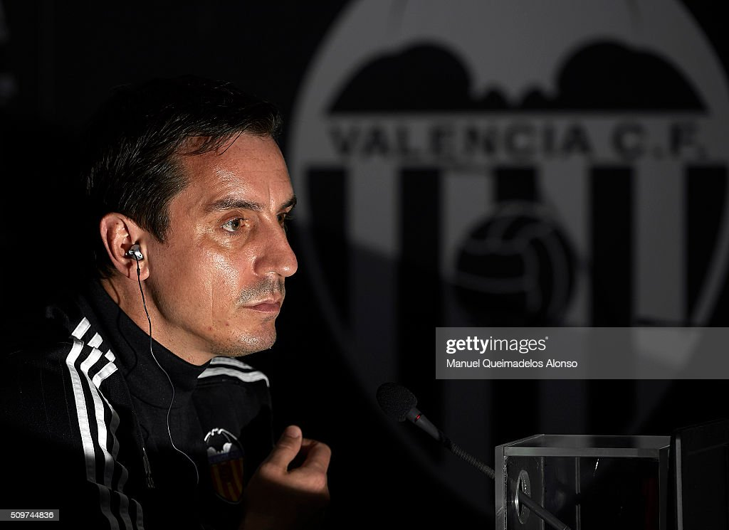 Gary Neville manager of Valencia CF faces the media during a press conference ahead La Liga match between Valencia CF and RCD Espanyol at Paterna Training Centre on February 12, 2016 in Valencia, Spain.