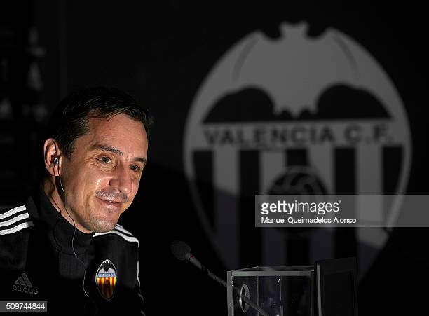 Gary Neville manager of Valencia CF faces the media during a press conference ahead La Liga match between Valencia CF and RCD Espanyol at Paterna...