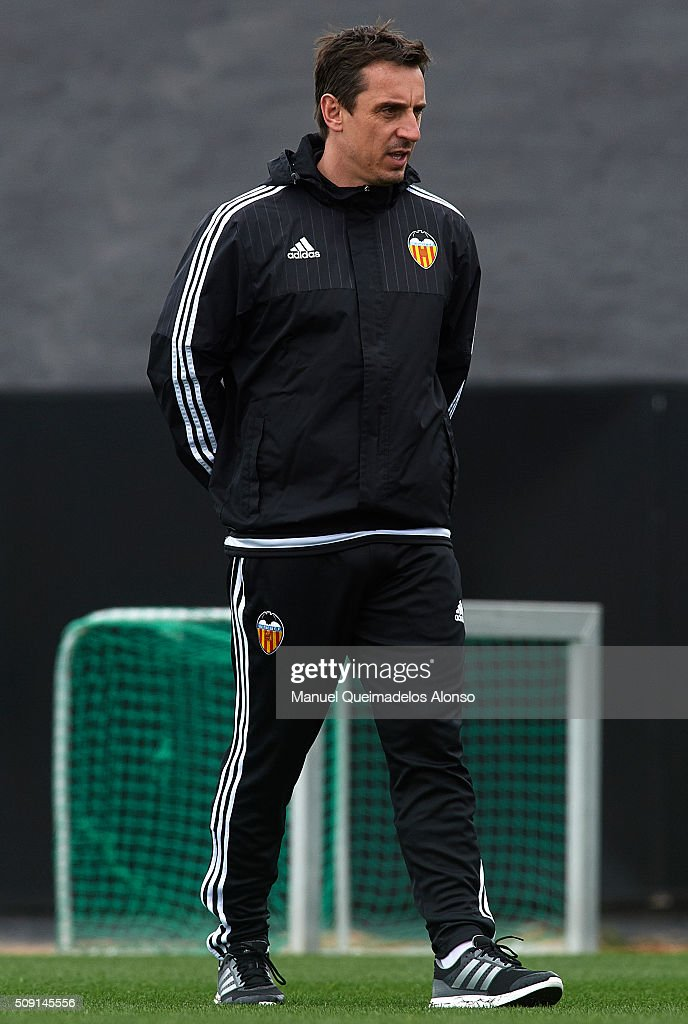 <a gi-track='captionPersonalityLinkClicked' href=/galleries/search?phrase=Gary+Neville&family=editorial&specificpeople=171409 ng-click='$event.stopPropagation()'>Gary Neville</a>, manager of Valencia CF looks on during a training session ahead of Wednesday's Copa del Rey Semi Final, second leg match between Valencia CF and FC Barcelona at Paterna Training Centre on February 9, 2016 in Valencia, Spain.