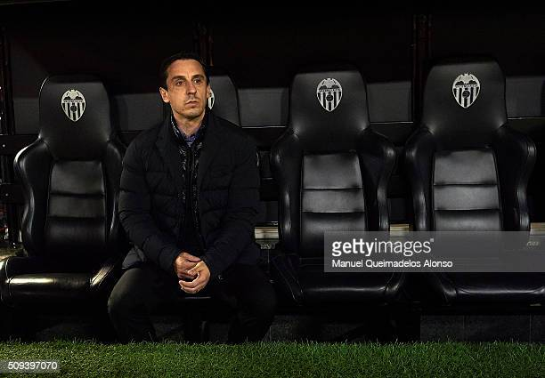 Gary Neville manager of Valencia CF looks on prior to the Copa del Rey Semi Final second leg match between Valencia CF and FC Barcelona at Estadio...