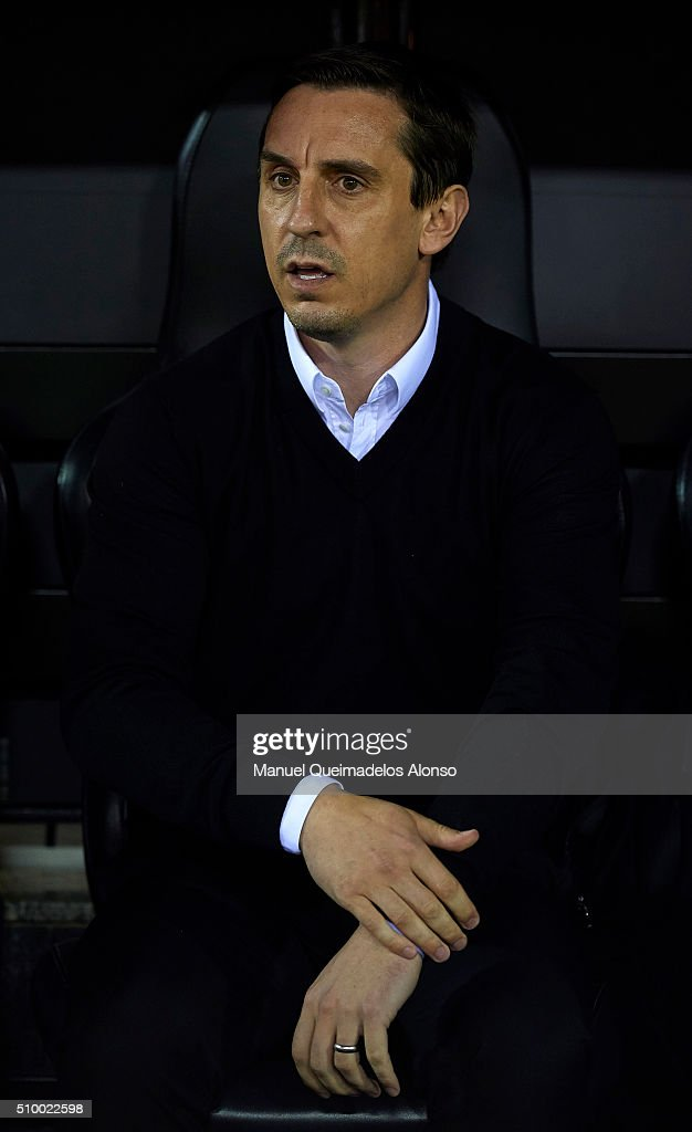 <a gi-track='captionPersonalityLinkClicked' href=/galleries/search?phrase=Gary+Neville&family=editorial&specificpeople=171409 ng-click='$event.stopPropagation()'>Gary Neville</a> manager of Valencia CF looks on prior to the La Liga match between Valencia CF and RCD Espanyol at Estadi de Mestalla on February 13, 2016 in Valencia, Spain.