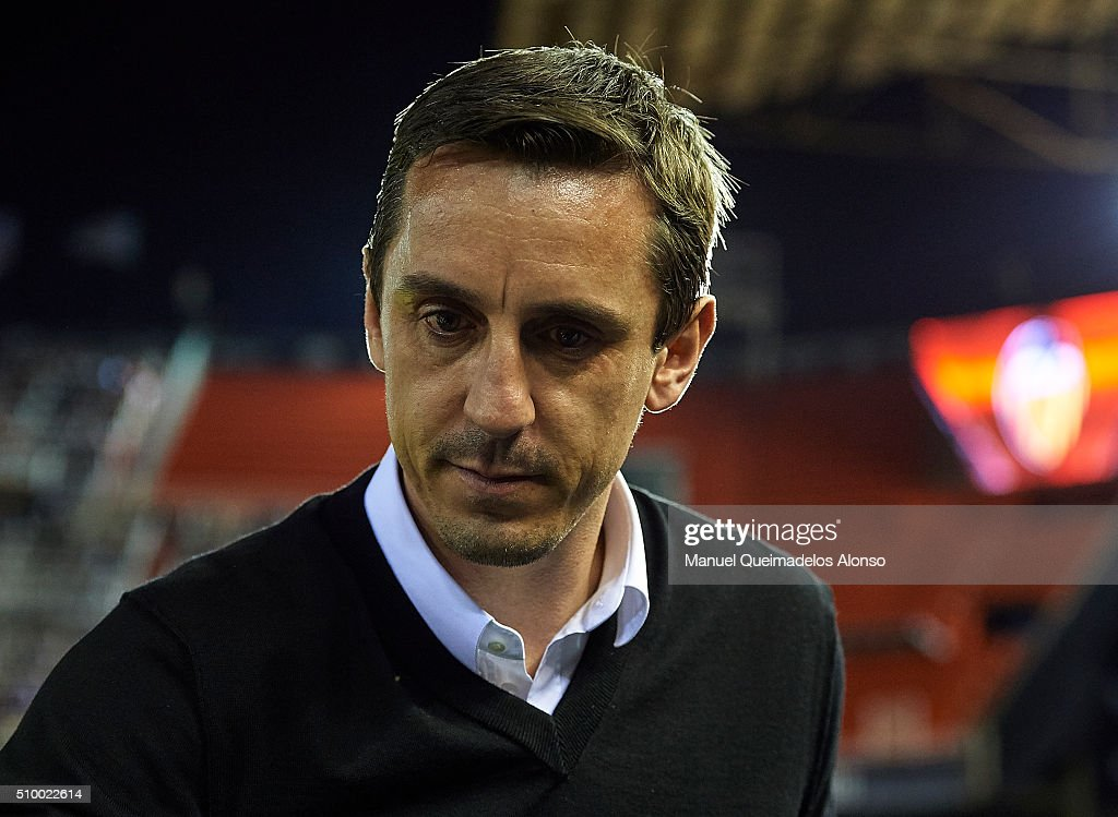<a gi-track='captionPersonalityLinkClicked' href=/galleries/search?phrase=Gary+Neville&family=editorial&specificpeople=171409 ng-click='$event.stopPropagation()'>Gary Neville</a>, manager of Valencia CF looks on prior to the La Liga match between Valencia CF and RCD Espanyol at Estadi de Mestalla on February 13, 2016 in Valencia, Spain.