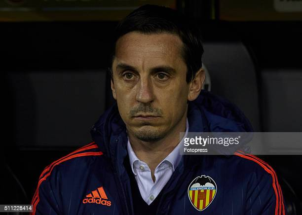 Gary Neville manager of Valencia CF looks on prior to the UEFA Europa League round of 32 first leg match between Valencia CF and Rapid Vienna at...