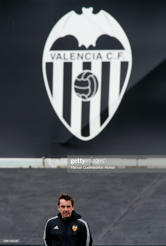 <a gi-track='captionPersonalityLinkClicked' href=/galleries/search?phrase=Gary+Neville&family=editorial&specificpeople=171409 ng-click='$event.stopPropagation()'>Gary Neville</a> manager of Valencia CF reacts during a training session ahead of Wednesday's Copa del Rey Semi Final, second leg match between Valencia CF and FC Barcelona at Paterna Training Centre on February 9, 2016 in Valencia, Spain.
