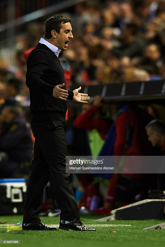 <a gi-track='captionPersonalityLinkClicked' href=/galleries/search?phrase=Gary+Neville&family=editorial&specificpeople=171409 ng-click='$event.stopPropagation()'>Gary Neville</a> manager of Valencia CF reacts during the La Liga match between Valencia CF and RCD Espanyol at Estadi de Mestalla on February 13, 2016 in Valencia, Spain.