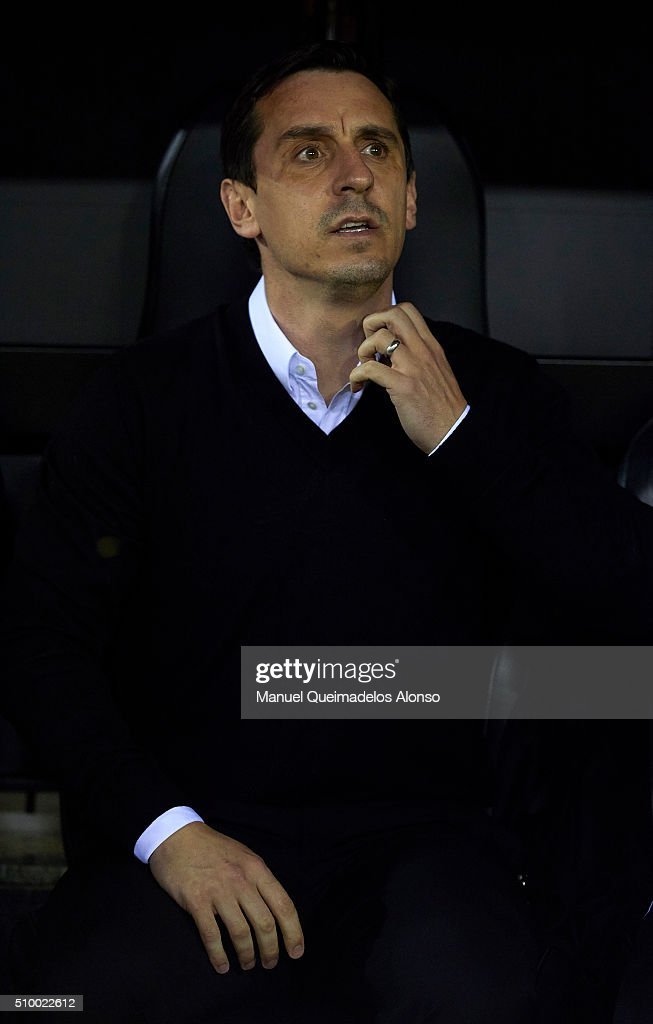 <a gi-track='captionPersonalityLinkClicked' href=/galleries/search?phrase=Gary+Neville&family=editorial&specificpeople=171409 ng-click='$event.stopPropagation()'>Gary Neville</a> manager of Valencia CF reacts prior to the La Liga match between Valencia CF and RCD Espanyol at Estadi de Mestalla on February 13, 2016 in Valencia, Spain.
