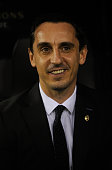 Gary Neville manager of Valencia looks on from the bench prior to the UEFA Champions League Group H match between Valencia CF and Olympique Lyonnais...
