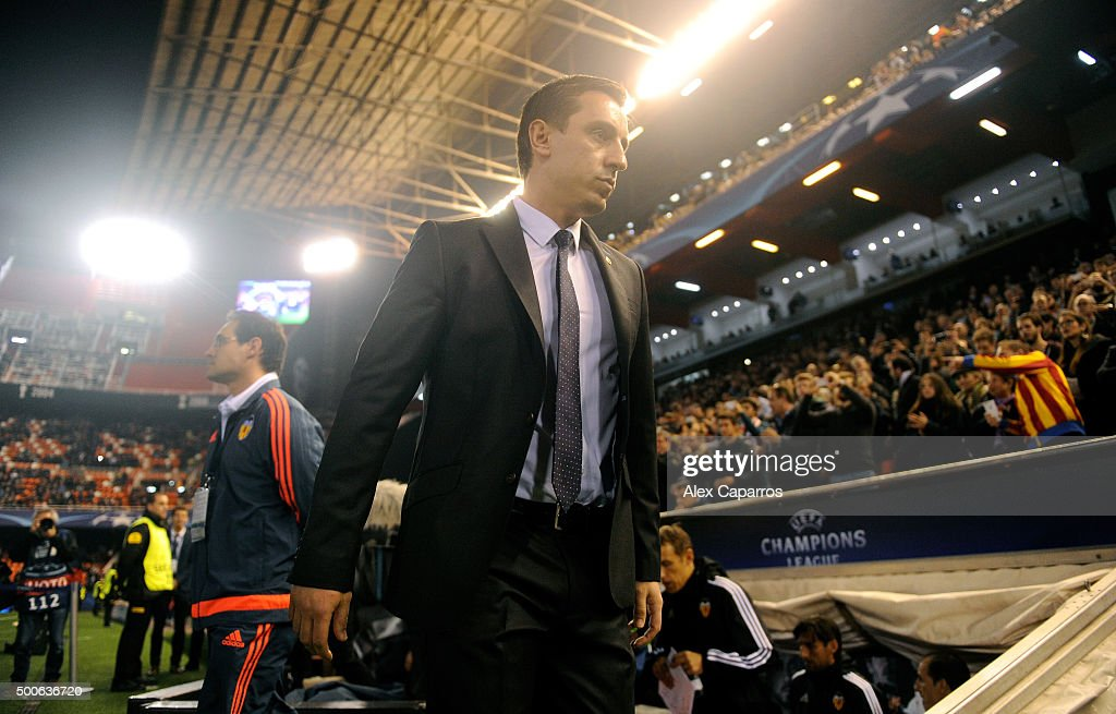 Gary Neville manager of Valencia looks on from the bench prior to the UEFA Champions League Group H match between Valencia CF and Olympique Lyonnais at Estadio Mestalla on December 9, 2015 in Valencia, Spain.