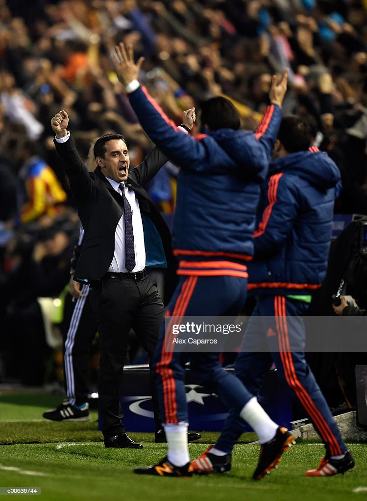 Gary Neville manager of Valencia reacts during the UEFA Champions League Group H match between Valencia CF and Olympique Lyonnais at Estadio Mestalla on December 9, 2015 in Valencia, Spain.