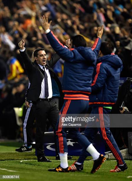 Gary Neville manager of Valencia reacts during the UEFA Champions League Group H match between Valencia CF and Olympique Lyonnais at Estadio Mestalla...