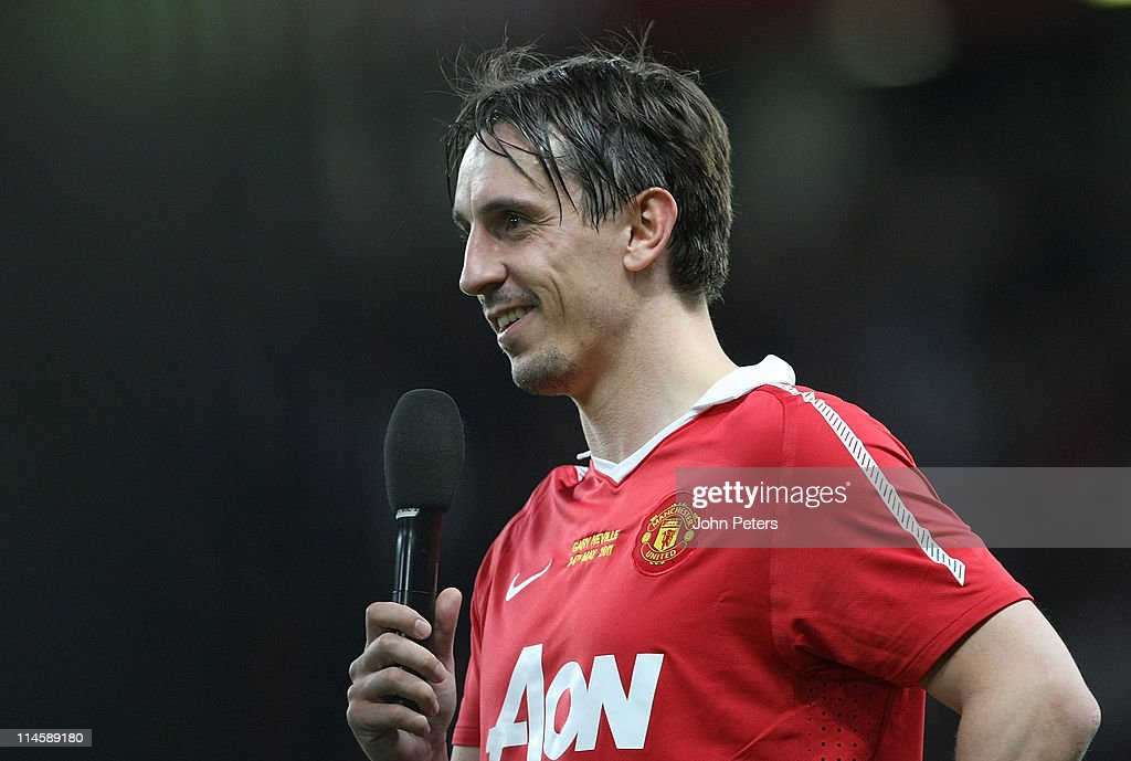 <a gi-track='captionPersonalityLinkClicked' href=/galleries/search?phrase=Gary+Neville&family=editorial&specificpeople=171409 ng-click='$event.stopPropagation()'>Gary Neville</a> of Manchester United addresses the crowd after his testimonial match between Manchester United and Juventus at Old Trafford on May 24, 2011 in Manchester, England.