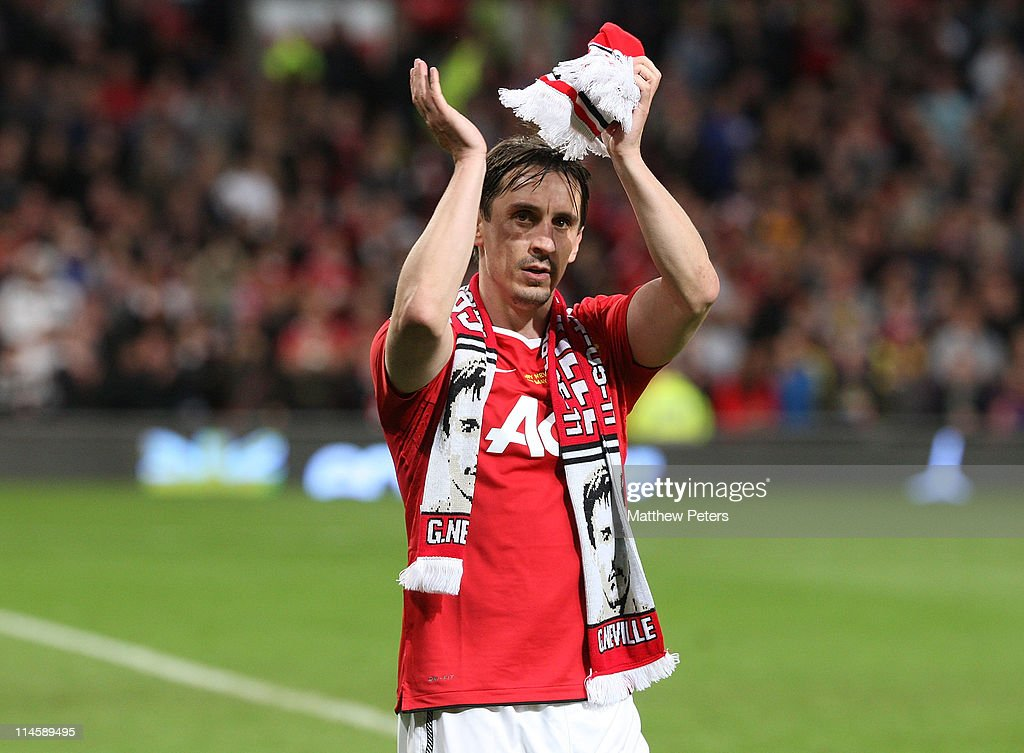 <a gi-track='captionPersonalityLinkClicked' href=/galleries/search?phrase=Gary+Neville&family=editorial&specificpeople=171409 ng-click='$event.stopPropagation()'>Gary Neville</a> of Manchester United applauds the fans after his testimonial match between Manchester United and Juventus at Old Trafford on May 24, 2011 in Manchester, England.