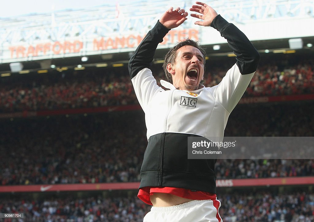 Gary Neville of Manchester United celebrates after the FA Barclays Premier League match between Manchester United and Manchester City at Old Trafford on September 20 2009 in Manchester, England.