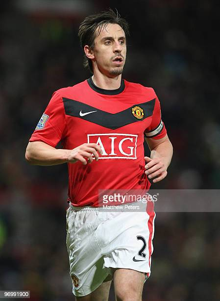 Gary Neville of Manchester United in action during the FA Barclays Premier League match between Manchester United and West Ham United at Old Trafford...