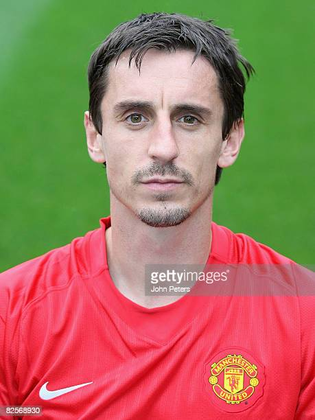 Gary Neville of Manchester United poses during the club's official annual photocall at Old Trafford on August 27 2008 in Manchester England