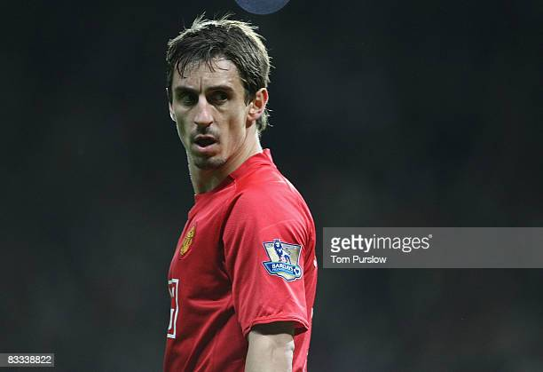 Gary Neville of Manchester Unitedin action during the Barclays Premier League match between Manchester United and West Bromwich Albion at Old...