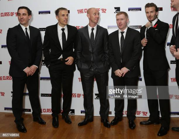 Gary Neville Phil Neville Nicky Butt Paul Scholes and David Beckham arriving for the World premiere of documentrary film The Class of 92 detailing...