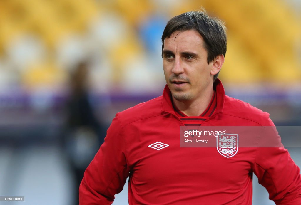 <a gi-track='captionPersonalityLinkClicked' href=/galleries/search?phrase=Gary+Neville&family=editorial&specificpeople=171409 ng-click='$event.stopPropagation()'>Gary Neville</a> the coach of England looks on during a UEFA EURO 2012 training session at the Olympic Stadium on June 14, 2012 in Kiev, Ukraine.