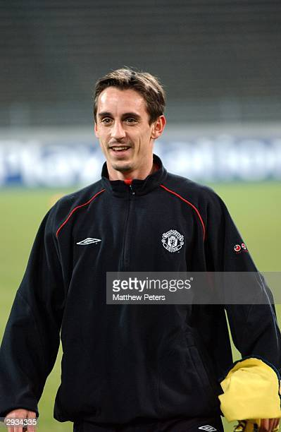 Gary Neville training the night before the UEFA Champions League match between Bayern Munich v Manchester United match at the Olympiastadion Munich...