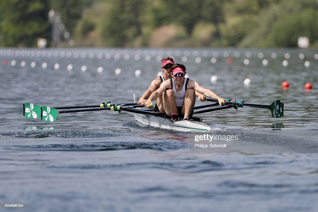 Gary O'Donovan (L) and Paul O'Donovan of Ireland compete in the Lightweight Men's Double Sculls heats during day 1 of the 2016 World Rowing Cup II at Rotsee on May 27, 2016 in Lucerne, Switzerland.
