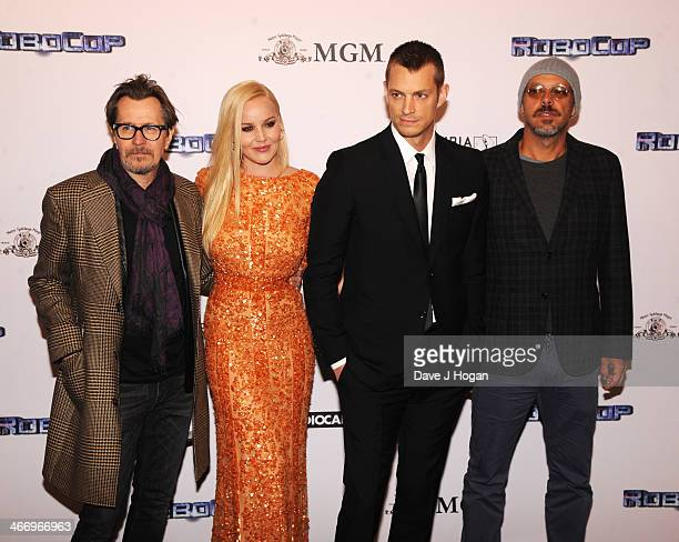 Gary Oldman Abbie Cornish Joel Kinnaman and Jose Padhila attend the world premiere of 'RoboCop' at The IMAX on February 05 2014 in London England