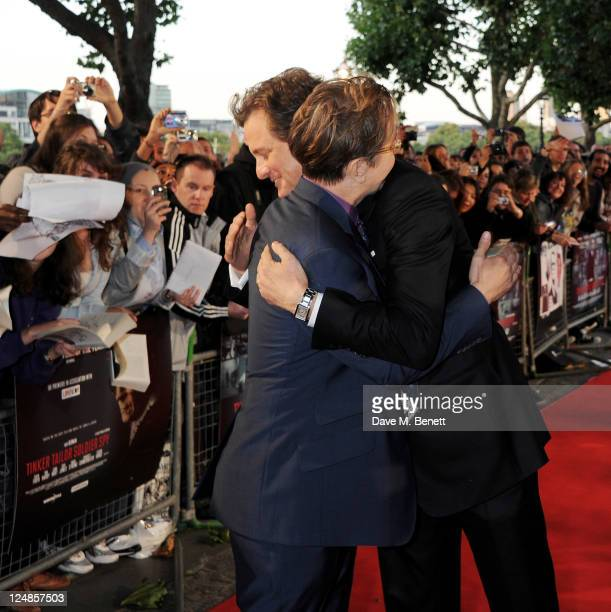 Gary Oldman and Colin Firth arrive at the UK Premiere of 'Tinker Tailor Soldier Spy' at BFI Southbank on September 13 2011 in London England
