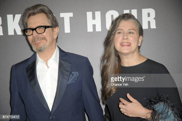 Gary Oldman and Gisele Schmidt attend 'Darkest Hour' New York premiere at Paris Theatre on November 15 2017 in New York City