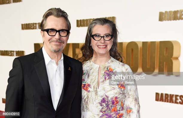 Gary Oldman and Gisele Schmidt attend the UK Premiere of 'Darkest Hour' at Odeon Leicester Square on December 11 2017 in London England