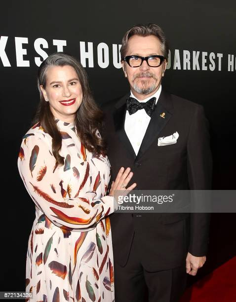 Gary Oldman and his wife Gisele Schmidt attend the premiere of Focus Features 'Darkest Hour' at Samuel Goldwyn Theater on November 8 2017 in Beverly...