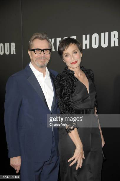 Gary Oldman and Kristin Scott Thomas attend 'Darkest Hour' New York premiere at Paris Theatre on November 15 2017 in New York City