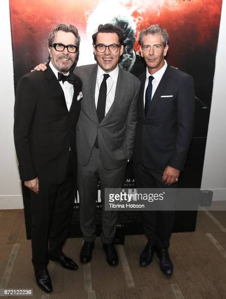 Gary Oldman Joe Wright and Ben Mendelsohn attend the premiere of Focus Features 'Darkest Hour' after party on November 8 2017 in Beverly Hills...