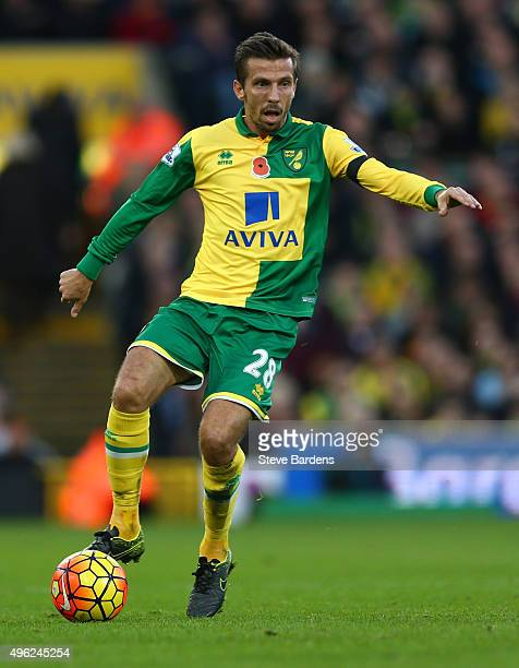 Gary O'Neil of Norwich City in action during the Barclays Premier League match between Norwich City and Swansea City at Carrow Road on November 7...