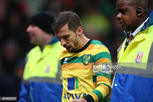Gary O'Neil of Norwich City leaves the pitch after receiving a red card during the Barclays Premier League match between Stoke City and Norwich City...