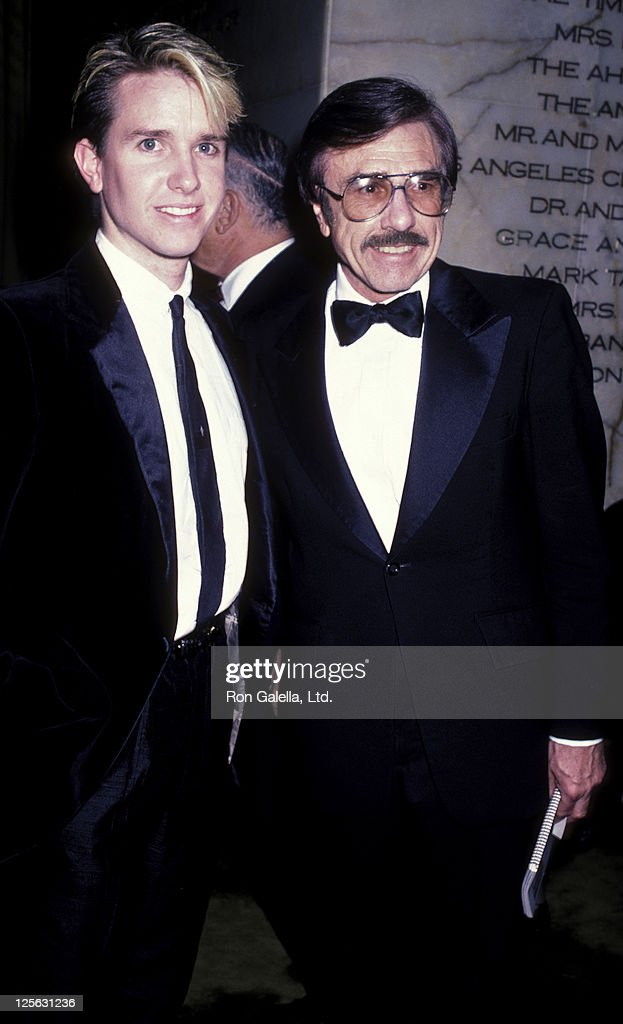 Gary Owens and son attend Singers Salute to Songwriters Gala on April 7 1986 at the Dorothy Chandler Pavilion in Los Angeles California