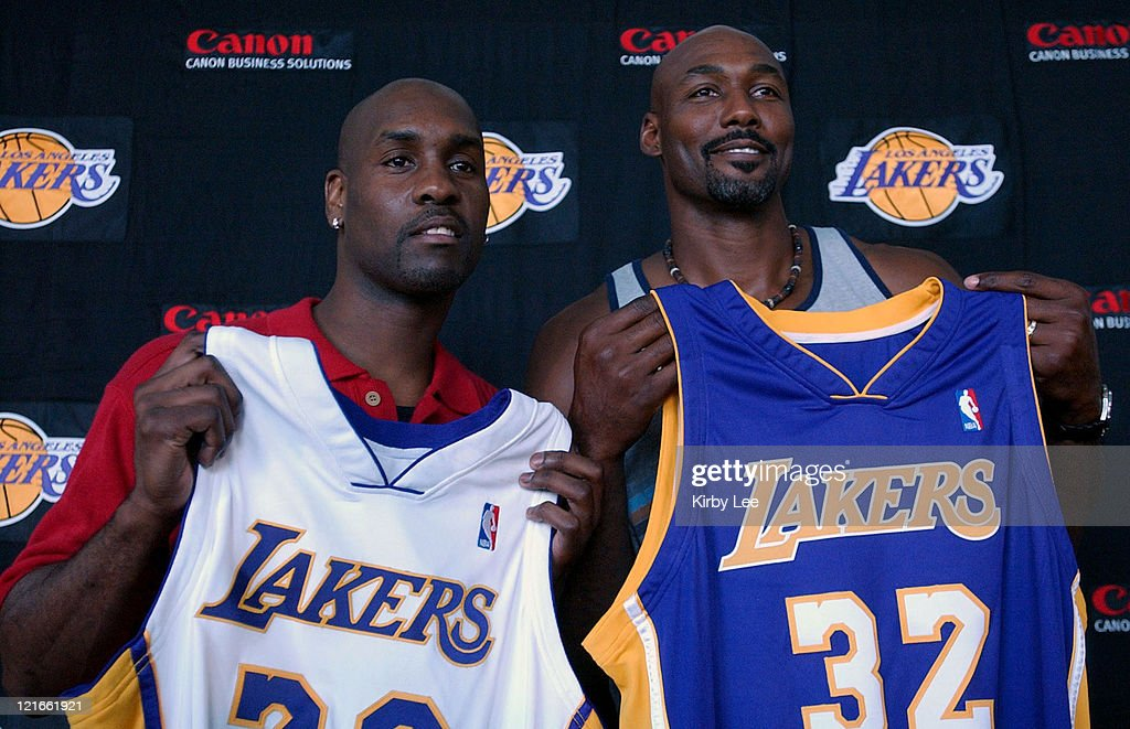 Gary Payton (left) and Karl Malone at Staples Center press conference to announce contract signing with the Lakers.