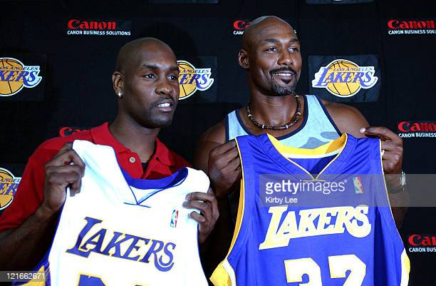 Gary Payton and Karl Malone at Staples Center press conference to announce contract signing with the Lakers