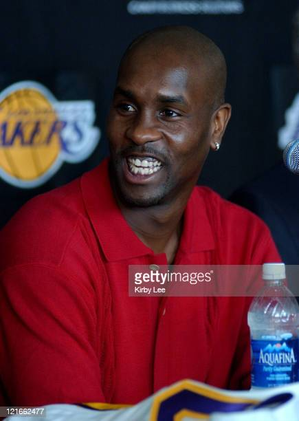 Gary Payton at Staples Center press conference to announce contract signing with the Lakers