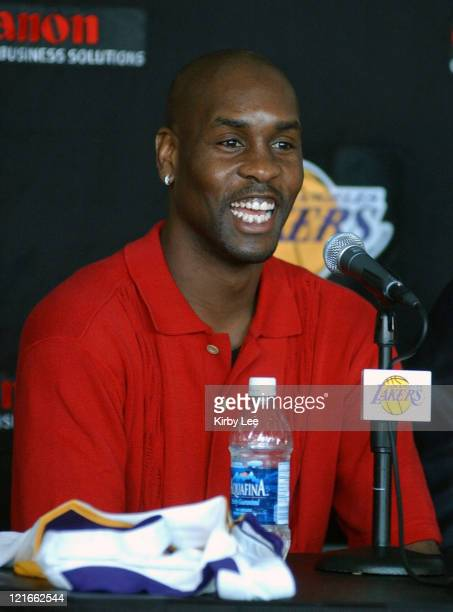 Gary Payton at Staples Center press conference to announce contract signing of Payton and Malone with the Lakers
