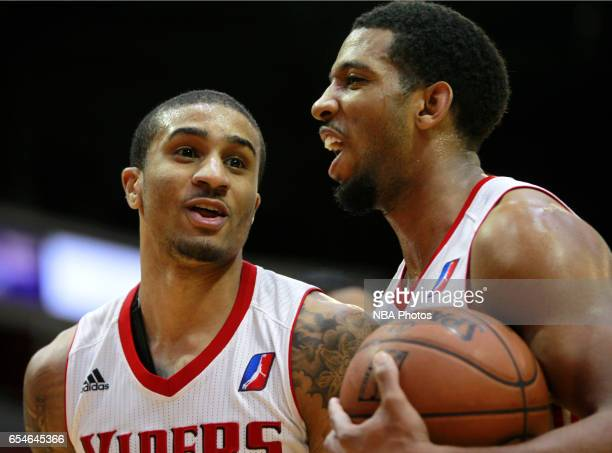Gary Payton II left reacts to being fouled with Darius Morris both of the Rio Grande Valley Vipers during their game against the Northern Arizona...