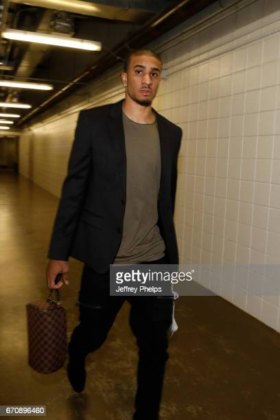 Gary Payton II of the Milwaukee Bucks arrived before the game against the Toronto Raptors in Game Three of the Eastern Conference Quarterfinals of...