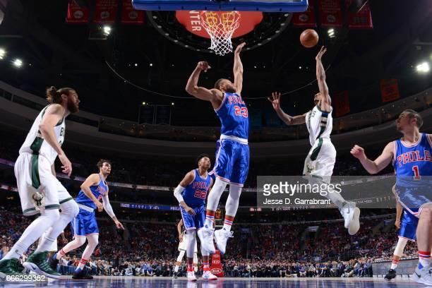 Gary Payton II of the Milwaukee Bucks shoots the ball against the Philadelphia 76ers on April 8 2017 at Wells Fargo Center in Philadelphia...