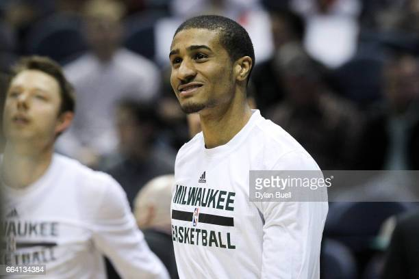 Gary Payton II of the Milwaukee Bucks warms up before the game against the Dallas Mavericks at BMO Harris Bradley Center on April 2 2017 in Milwaukee...
