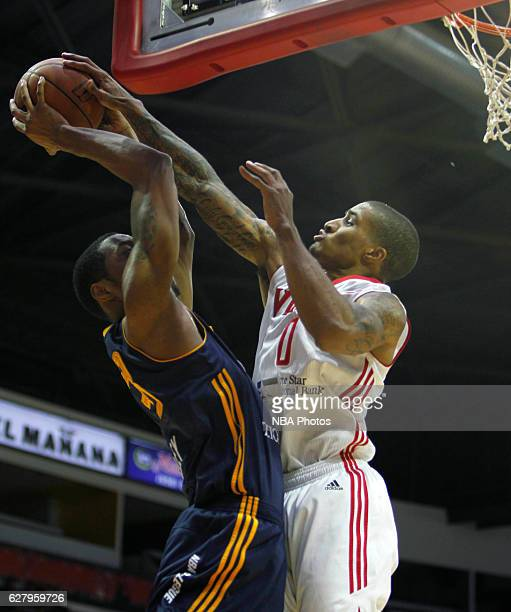 Gary Payton II of the Rio Grande Valley Vipers blocks the shot of Da'Shonte Riley of the Salt Lake City Stars on December 5 2016 at the State Farm...