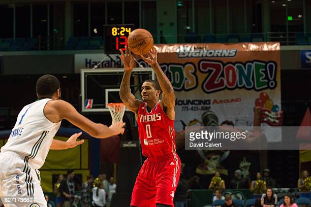 Gary Payton II of the Rio Grande Valley Vipers passes to a teammate against the Reno Bighorns at the Reno Events Center on December 1 2016 in Reno...